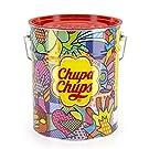Chupa Chups Best of Lollipop-Eimer, 150 Lutscher in der Aufbewahrungsdose, Pop-Art Metalldose mit 6 Geschmacksrichtungen