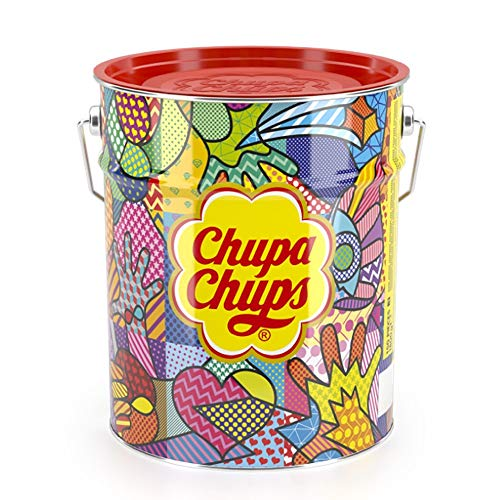 Chupa Chups Lecca Lecca Latta, Confezione da 150 Lollipop Monopezzo, Lollipop Gusti Assortiti, Fragola, Panna-Fragola, Vaniglia, Cola, Lampone, Ciliegia, Arancia, Ottimo come Idea Regalo