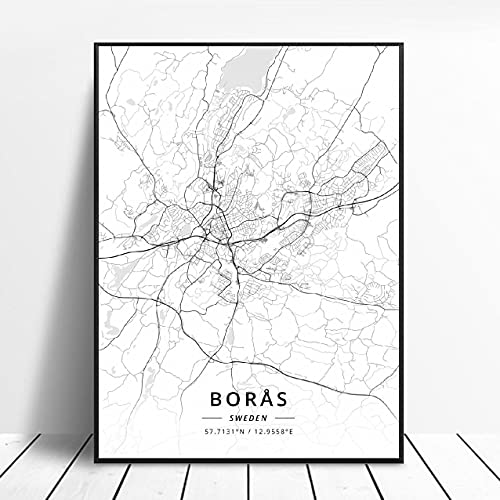Falun Varberg Skovde Uddevalla Norrkoping Boras Sweden Canvas Art Map Poster ?ZW-482? Ingen ram poster 40x60cm