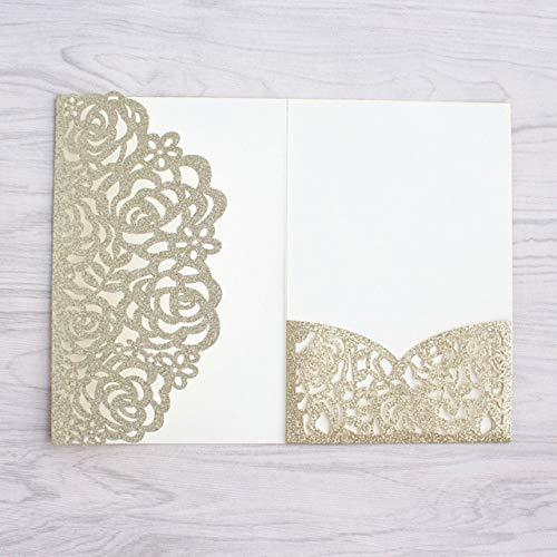 Dodom Bling goldene Karte Einladung Rose Laserschneiden Tasche Einladung Set glitzernden Papier Hochzeit Party Supply Factory Supply, hellgolden, individuelles Drucken