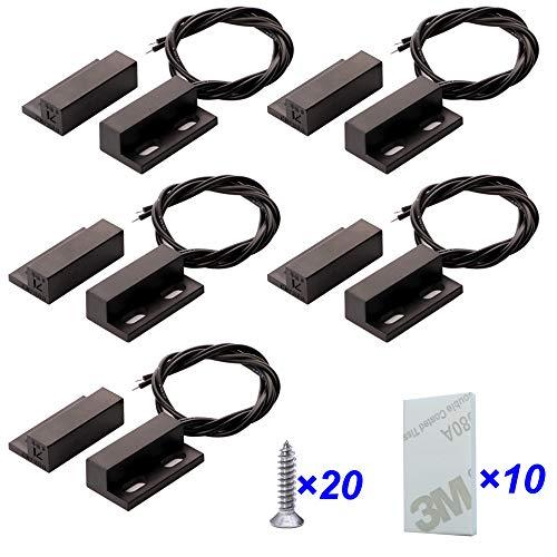 Gebildet 5 Stücke Einbau Verdrahtete Sicherheit Fensterkontaktsensor Alarm Magnetschalter Schwarz, Magnetischer Türsensor, Normalerweise Geschlossener Magnetschalter