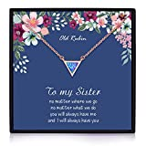 Sister Gifts from Sister, Sister Necklaces, 14K Gold Plated Geometric Created Opal Necklace Big Sister Gifts, Sister Gifts for Sister, Sister Birthday Jewelry Gifts, Sisters Gifts, Gift for Sister (Sister Necklace)