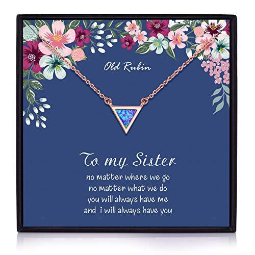 Sister Necklace, 14K Gold Plated Geometric Created Opal Necklace Big Sister Gifts, Sister Gifts for Sister, Sister Birthday Jewelry Gifts, Sisters Gifts, Gift for Sister (Sister Necklace)