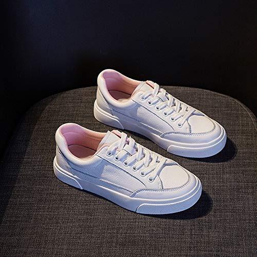 HOESCZS Cuir Blanc Chaussures Fond Mou Rond Chaussures De Sport Plate Bouche Peu Profonde Chaussures Paresseuses Printemps Nouveau Chaussures pour Femmes De Mode