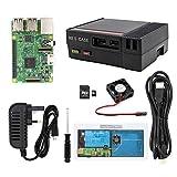 The perseids NES caso, funcional potencia y Botón de reinicio Mini de ordenador con ventilador de refrigeración y Raspberry Pi 3, 2 y B + negro negro MIni with Pi starter Set