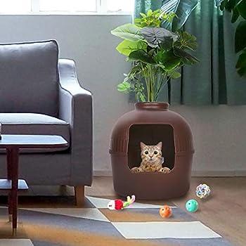 BingoPaw Bac à Litière pour Chat: Maison de Toilette Chat Lapin Décoratif Grande Taille 51x51x52cm avec Lavabo et Sacs à Ordures (Marron)