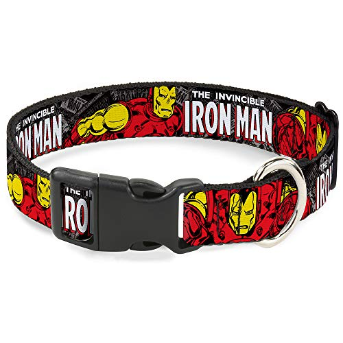 Buckle-Down Dog Collar Plastic Clip The Invincible Iron Man Stacked Comic Books Action Poses 8 to 12 Inches 0.5 Inch Wide