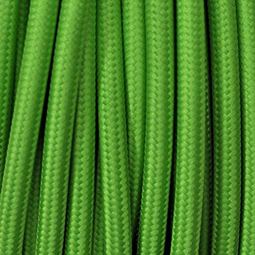 Cavo elettrico tondo rivestito in tessuto colorato per lampadari, lampade, abat jour. Il cavo elettrico diventa design! Scegli fra 30 colori. 5 Metri 2x0,75. Made in Italy! Kiwi Verde