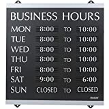 Headline Sign - Century Series, Business Hours Sign with 176 1/4'-Characters, Suction Cups for Hanging, 14x13 Inch, Black and Silver (4247)