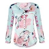 TWIFER Sommer Chiffon Damenmode V-Ausschnitt Print Langarm Lose Tops T-Shirt Bluse Mode Damen Tshirt...