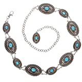 Women's Western Oval Turquoise Stone Concho Chain Belt, Silver | One Size