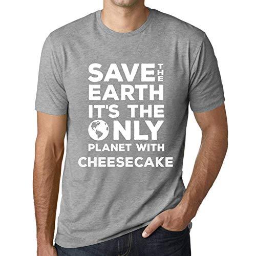 Herren Tee Männer Vintage T-Shirt Save The Earth Cheesecake Grau Meliert