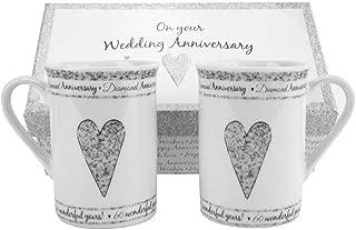 60th Diamond Wedding Set Ceramic Mugs by Happy Homewares