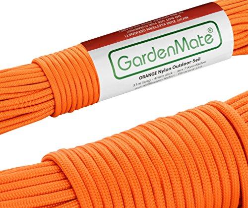 GardenMate Paracord 550 Professionelles Nylon Outdoor-Seil Orange 31m lang 4mm dick - Kernmantel-Seil aus 7 Kernfäden aus reißfestem Nylon