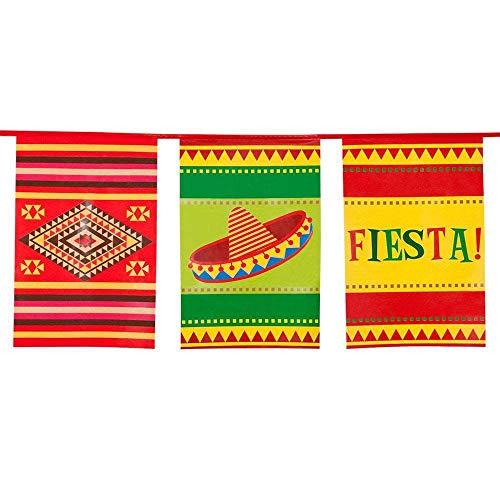 Boland 54401 - Wimpelkette Fiesta, Länge 10 m, Mexiko, Hängedekoration, Girlande, Geburtstag, Partydekoration, Partygeschirr, Mottoparty, Karneval