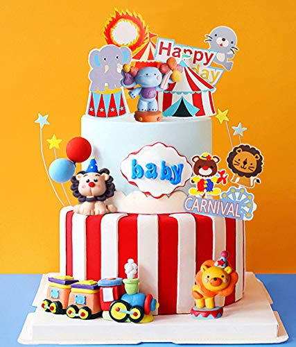 JeVenis 15 PCS Circus Cake Decoration Circus Cake Topper Carnival Birthday Cake Decorations Circus Birthday Party Supplies Circus Baby Shower Decoration