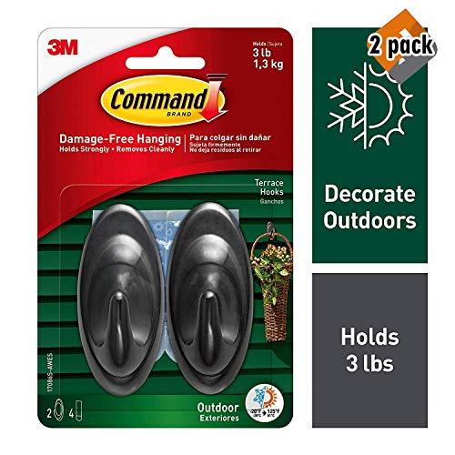Command Outdoor 3 lb Capacity Medium Terrace Hooks, Black, Water-Resistant Strips, 2 Hooks, 4 Strips, Decorate Damage-Free (17086S-AWES), 2 Pack