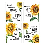 Modern Abstract Yellow Sunflower Flower Wall Art Prints 4 Piece (8'x10'UNFRAMED) Inspirational Quotes Poster Bedroom kitchen Living Room Wall Decor Art Painting Home Decor
