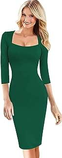 Womens Sexy Elegant Square Neck Work Business Bodycon Sheath Dress