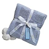 Chenille Knitted Blanket Hand-Woven Big Plush Blanket Super Soft and Comfortable Thin Blanket Suitable for air-Conditioned Rooms and Offices(50 X 60 Inch,Dusty Blue)