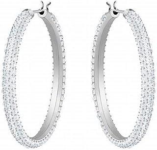 Swarovski Crystal Stone Rhodium-Plated Hoop Earrings
