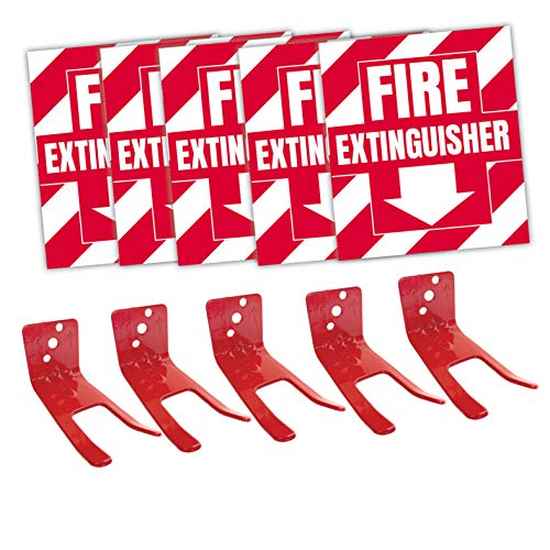 Fire Extinguisher Sign Sticker Bracket Wall Mount - Pack of 5 Self Adhesive Decals Weatherproof UV Protected AND 5 6-13 lb Forks