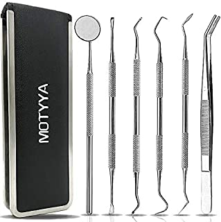 Dental Tools, MOTYYA Professional Teeth Cleaning Tools Dental Hygiene kit Stainless Steel Dental Picks Oral Care set to Remover Plaque Tartar,tooth scraper,Mouth Mirror,Tooth Scaler home use (6 Tools)