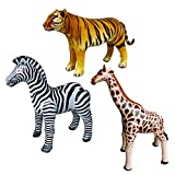 Jet Creations Safari 3 Pack Giraffe Zebra Tiger Inflatable Air Stuffed Plush Animal Great for Pool, Party Decoration Toys and Gifts, Size 32 to 40 inch, JC-GZT