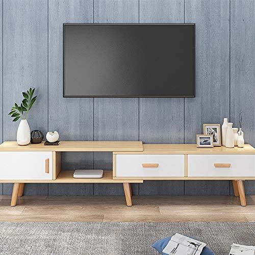 KaminHome - Mueble TV Wenda Extensible Medida Ajustable Soporte televisión de Madera Estilo nórdico escandinavo Moderno con cajones (Blanco/Roble, 133-200 cm)