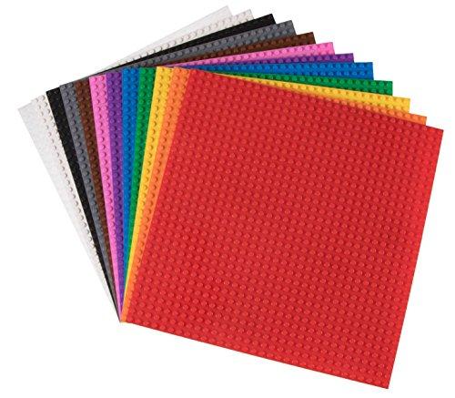 Strictly Briks Rainbow - Pack de 12 Bases apilables para Construir - Compatible con Todas Las Grandes Marcas - 25,4 x 25,4 cm