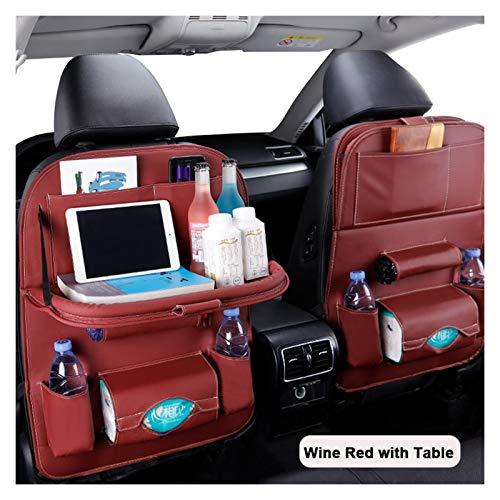 MeiZi Sillón de automóviles Atrás Organizador PU Cuero Pad Pad Bag Organizador de Almacenamiento de automóviles Bandeja Plegable Mesa de Viaje Bolsa de Almacenamiento Auto Accesorios