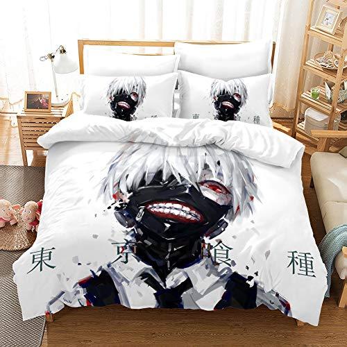 Fvfvfv Kaneki Ken: Tokyo Ghoul, Japanisch Anime, D Druck, Dreiteilige Bettdecke, Bettwäsche, 100 Polyester, for Anime Fans (Größe : EU Twin Single Size (135 * 200CM))