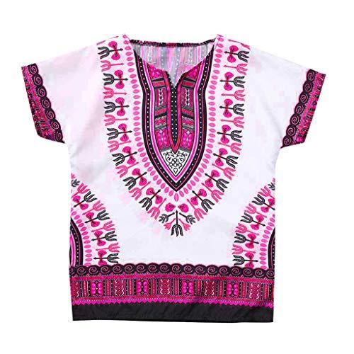 LOPILY Unisexo Brillante Color Africano Estilo étnico Niño O-Cuello Tops Camiseta De Manga Corta