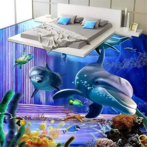 Schillernde Delphin Unterwasser Küche Schlafzimmer 3D Boden verdickt rutschfeste Badezimmer Wohnzimmer Lobby Bodenbelag Wandbild, 200 * 140cm