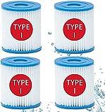 CXYXHW Pack de 4 cartuchos de filtro para piscina Bestway Talla I, filtro hinchable para piscina, cartucho de filtro de repuesto para la limpieza de la piscina tubular
