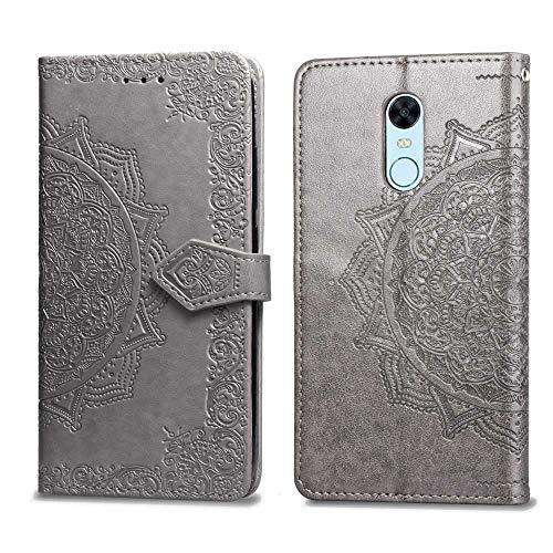 Bear Village Hülle für Xiaomi Redmi 5 Plus, PU Lederhülle Handyhülle für Xiaomi Redmi 5 Plus, Brieftasche Kratzfestes Magnet Handytasche mit Kartenfach, Grau