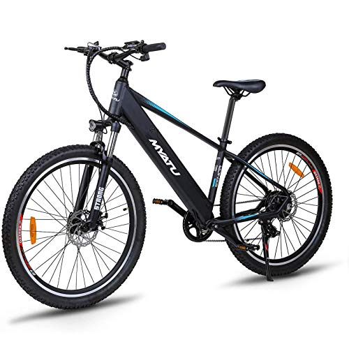 Victagen Electric bicycle, 27.5' Electric Bike Adults, Mountain Electric Bike, 36V/10Ah Lithium Battery, Shimano 7-Speed 250W Motor 30 km/h, Suspension Fork with Lock, Tektro Dual Disc Brakes (Black)