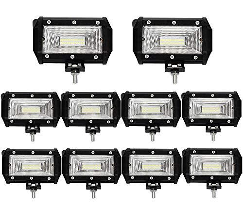 Leetop 10X 72W Faro Trabajo LED,Super Bright y Potentes Focos LED Coches 6000K IP67 Impermeable de Faros Adicionales Blanco Frío para Off-Road Tractor,Camión