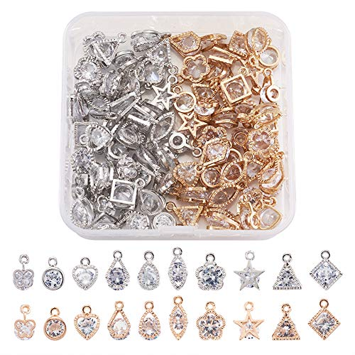 Craftdady 80pcs Cubic Zirconia Crystal Charms 10 Styles Geometric Tiny Rhinestone Diamante Pendants with Mixed Colors Metal Frame for Necklace Earring Jewelry Making