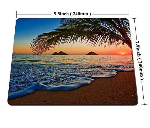 Hawaiian Mouse Pad by Smooffly, Pacific Sunrise at Lanikai Beach, Hawaii Colorful Sky Wavy Ocean Surface Scene,Customized Rectangle Non-Slip Rubber Mousepad Gaming Mouse Pad, 9.5 X 7.9 Inches Photo #4