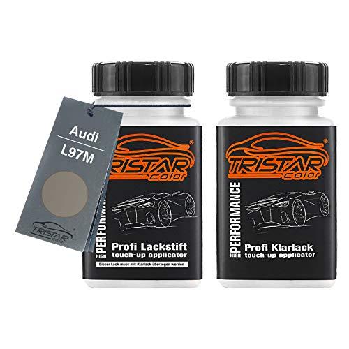 TRISTARcolor Autolack Lackstift Set für Audi L97M Anthrazit Metallic/Antrazit Metallic Basislack Klarlack je 50ml