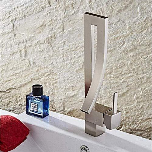 Baño Grifo de lavabo Elegante Cromo Níquel Latón Grifo de lavabo cuadrado Grifo mezclador de lavabo de lujo Grifo mezclador de fregadero frío y caliente @ Black_China-Nickel
