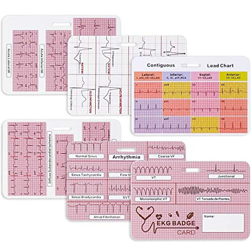 Lisol EKG Badge Cards - Nurse EKG Strips Interpretation Cardiac Rhythm Measurement Cheat Cards for Badge, 12 Lead ECG Ruler Tool EKG Accessories Reference, Paramedic ID Badge Buddy Telemetry Reader