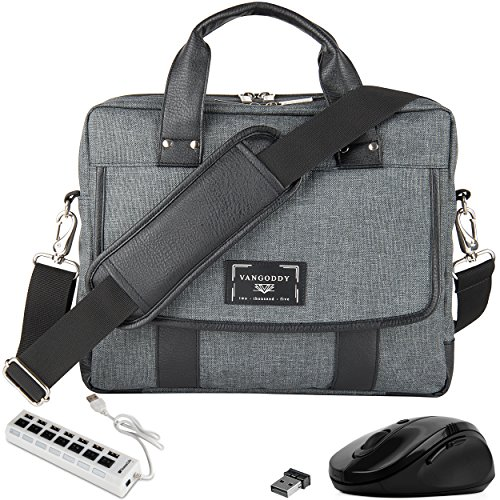 VanGoddy Laptop Shoulder Briefcase Messenger Bag with USB Hub, and Mouse for Fujitsu Lifebook, Stylistic 11' to 13.3-Inch