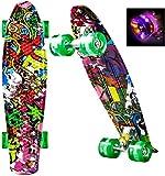 WeSkate Mini Cruiser Skateboard tabla completa retro tabla de skate vintage con borde de plástico Cruiser tabla con PU rueda flash rodamientos ABEC-7 para adultos niños niños niños niñas