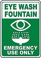 注意サイン-洗眼噴水。 通行の危険性屋外防水および防錆金属錫サイン