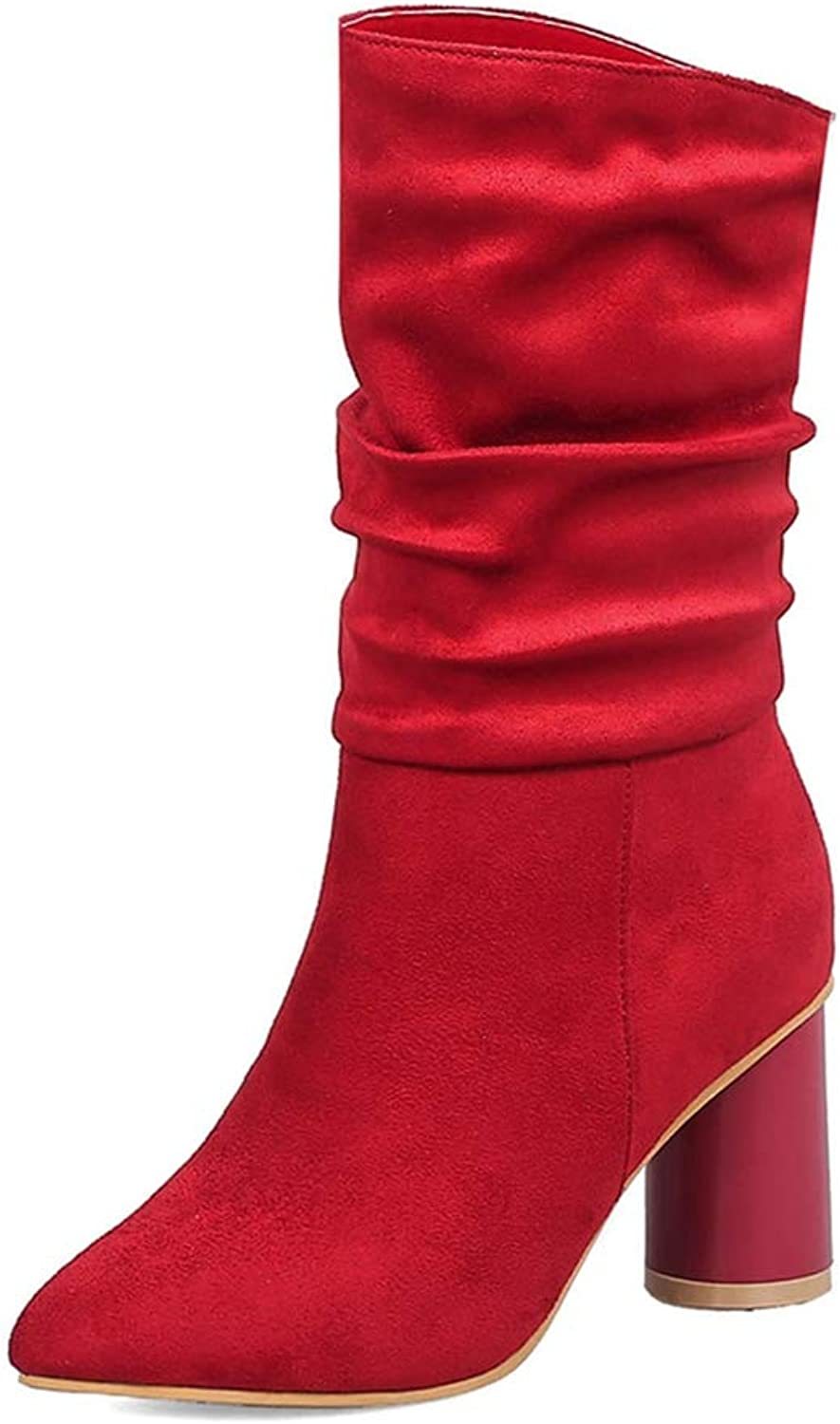 ASO-SLING Woman Fashion Boots Dropship Pointed Toe High Heels Mid Calf Warm Winter shoes