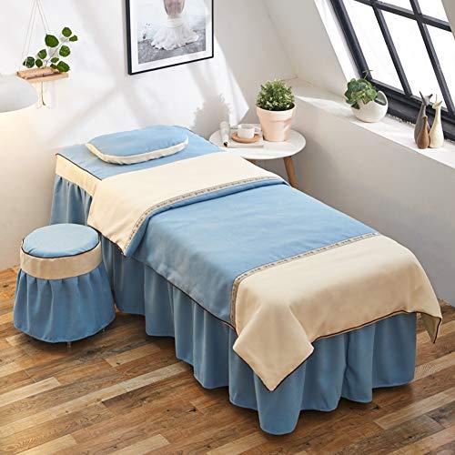 Massageliege Bettwäsche Satz, Bestickt Stitching Baumwolle und leinen Bettrock Beauty Bett Abdeckung Mit Gesicht-Loch, 4-teilig-blau 24x71inch