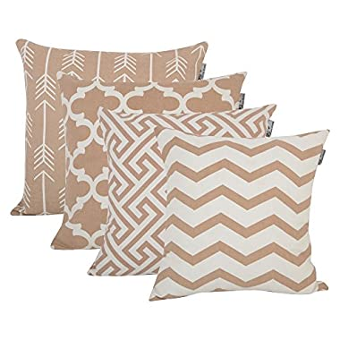 Accent Home Cotton Canvas Throw Cushion Cover Printed Both Side For Home Sofa Couch, Chair Back Seat,4pc pack 18x18  in Color Moon Light