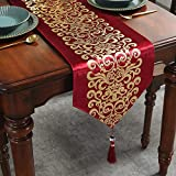 Caflife Table Runners 13 x 72 inch for Wedding Banquet Party Christmas Holiday Decoration,for Coffee Table Dresser and Dining Table Runner.Red and Gold